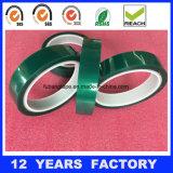 Anchura: espesor de 55m m: la película verde da alta temperatura del animal doméstico de 0.06m m basó la cinta del poliester del silicón