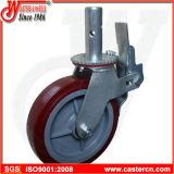 10インチの黒いゴム製旋回装置の足場の足車の車輪