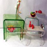 Mesa de chá acrílica de vidro orgânico com tampo de vidro (BTR-Q7001)