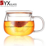 300mlホウケイ酸塩の耐熱性ガラスコップセットか単一の壁のガラスコップとのおよびふたまたは飲むガラスのティーカップのマグは注ぎこむ