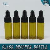 mini botella de cristal ambarina de 0.5oz 5ml con el frasco de cristal tubular del cuentagotas