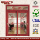 최상 실내 나무로 되는 유리제 미닫이 문 Gsp3-009