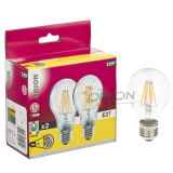 A60 ampoule économiseuse d'énergie de filament de la lumière 4W 6W 8W B22 E27 DEL