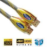L'oro ha placcato il maschio del cavo di HDMI a supporto maschio 4k/3D