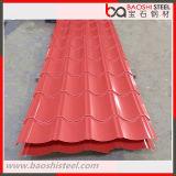 Hoja de acero acanalada prepintada PPGI de Dx51d para el material para techos