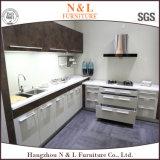 流行の白MFCの木製の食器棚