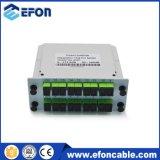 1*16 Sc/Upc Lgxボックス差込式の受動のデジタル光学PLCのカードのディバイダー