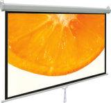 Tela de parede manual de 100 polegadas, tela de projetor para puxar para baixo / tela de projeção