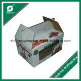 Caixa de papel ondulada de embalagem da fruta com indicador do PVC
