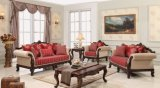Assento de amor clássico americano do sofá do sofá antigo da sala de visitas com jogo clássico da tabela
