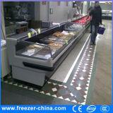 refrigerador de tragante abierto de la visualización de la carne de los 6FT con la cortina de la noche