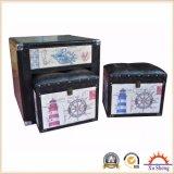 5 PC Linen Print Nesting Storage Ottoman, mesa de café