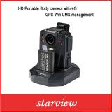 Câmera de corpo portátil HD com 4G GPS WiFi Cms Management