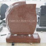 Pietra tombale rossa vermiglia del granito con il fiore del giglio