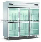 Refrigerador ereto do aço inoxidável da porta de vidro dobro com Ce