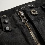 Pantalon chaud rayé de Madame Skull Button Low Waist de K-275 Steampunk