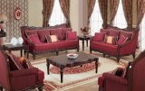 La Tabella classica del tessuto del sofà dell'oggetto d'antiquariato di amore della presidenza classica della sede ha impostato con il blocco per grafici di legno per mobilia domestica