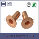 o cobre de 8X24mm chapeou o rebite de aço tubular cheio principal liso do forro de freio