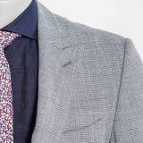 Giacca sportiva grigio-chiaro degli uomini di miscela delle 2016 di modo lane e della tela