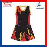 Uniformes de vestidos do Bodysuit do Netball do Sublimation das mulheres
