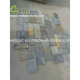 Placage gris de mur en pierre d'ardoise de projet de maçonnerie de veine de Natual