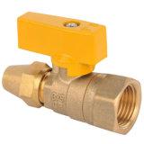Vávula de bola de cobre amarillo para el gas