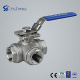 3 modo T Type Stainless Steel Ball Valve con Lock Handle
