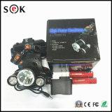 Lámpara principal recargable de aluminio del lumen T6 30W Zoomable LED del poder más elevado 3000