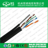 Cable a granel clasificado ULTRAVIOLETA al aire libre de Cat5e con negro del mensajero el 1000FT