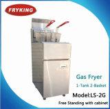 Puces et friteuse de gaz de friteuses de poissons avec la double friteuse de gaz d'admission de paniers