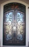 ヨーロッパ式の二重ガラスをはめられた外部の錬鉄のドア