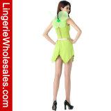 Капризная зеленая Fairy повязка выщербила Costume вычуры партии Halloween платья рубчика сексуальный