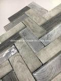 Azulejo de mosaico de cristal Herringbone de la impresión de madera gris de la inyección de tinta