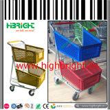 American Style Double Basket Chariot à carreaux en plastique