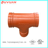 FM/UL Approval Ductile Iron Grooved Reducer Tee for Pipe Joning