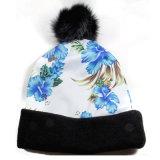 Sombrero hecho punto impresión de encargo de la gorrita tejida del poliester con la bola superior