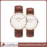 Promoção e relógio do aço inoxidável com a cinta de couro genuína para homens