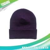 紫色カラーアクリルの男女兼用の明白な編まれた冬の帽子(044)