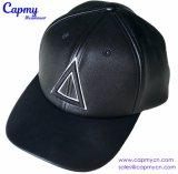 Fornecedor de couro preto feito sob encomenda do chapéu do boné de beisebol