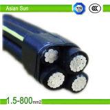 cable aislado XLPE de aluminio del ABC del conductor del cable 2X25mm2 del ABC 0.6/1kv