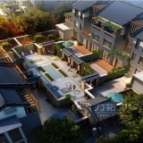 Stadt-Garten-Landschaftsplanungs-Wiedergabe mit hoher Auflösung