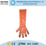 使い捨て可能で長い袖のプラスチック屠殺の手袋