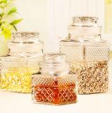 Vaso di vetro del vaso dell'alimento intagliato Nordic del vaso di vetro di vetro della caramella con il coperchio sigillato