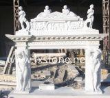 Cornija de lareira cinzelada mármore /Stone das chaminés de pedra que cinzela a cornija de lareira de pedra