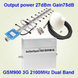 GSM900 3G 2100の出力電力27dBm利得のための2g 3Gの携帯電話のシグナルのブスター75dB