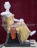 Mischungs-Farben-Marmorstatue-Frauen-Abbildung Skulptur für Garten-Stein (SY-C1004A)