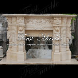 Camino di pietra di marmo Mfp-513 dell'indicatore luminoso dell'oro del deserto del camino del granito
