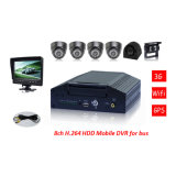 セリウムFCC RoHS H. 264 Mobile DVR、Bus Securityのための7 Inch LCD SchoolのSchool Busのための8CH