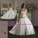 새로운 공단 연인 네클라인 구슬로 장식을%s 가진 신부 웨딩 드레스