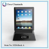 Altavoz de múltiples funciones caliente Bluetooth de la música del muelle del cargador de las tablillas con el reloj de alarma